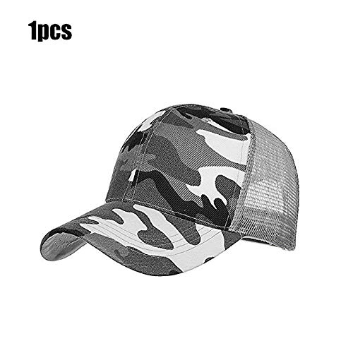 51010e5f3fc Runola Camo Cap Mesh Tucker Hat Snapback Adjustable Baseball Cap for  Outdoor Activities (Gray)