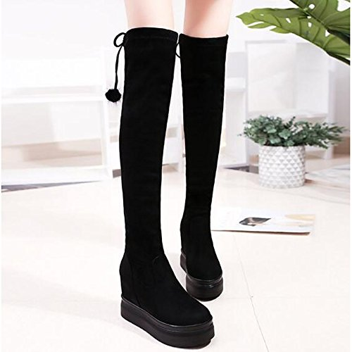 Winter Boots Wedge Casual Round Toe Black Comfort Fabric Knee Fall Boots for Women's HSXZ Heel Shoes Black The Fashion ZHZNVX Over Boots qBTwvgIg