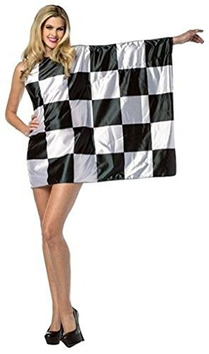 [Ponce Flag Dress Race Car Driver Checkered Flag Black White Checkers 4-10] (Zombie Race Car Driver Costume)