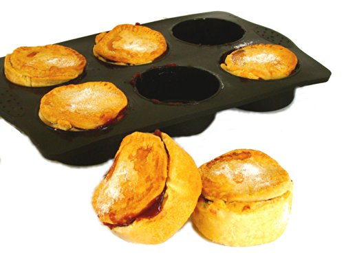 WellBake Silicone JUMBO Extra Large Muffin Pie Tray 6 Cup, Black