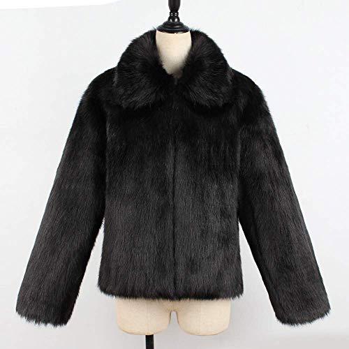 Synthétique Taille 3x Blanc Avec Col En Femme Veste Zhrui couleur Noir Fourrure Haut qpxv0nwa