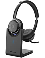 Avantree Alto Clair aptX HD Bluetooth 5.0 Headset with Microphone, Mute Function, Clear Talking, Hi-Fi Music, Low Latency, Wireless Headphones with Charging Base for Computer, PC, Laptop, Skype, TV