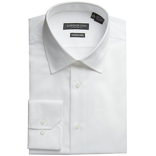 London Fog Men's L20001 Modern Fit Herringbone Cotton Dress Shirt - White - 17 - Long Herringbone Sleeve Dress Shirt