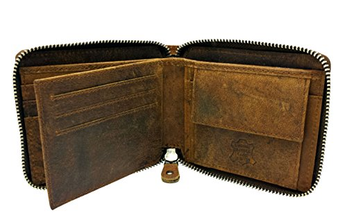 J. Wilson London Rfid Blocking Protection Distressed Leather J Wilson London Ziparound Wallet With Zip Coin Pocket Gift Boxed Medium Brown