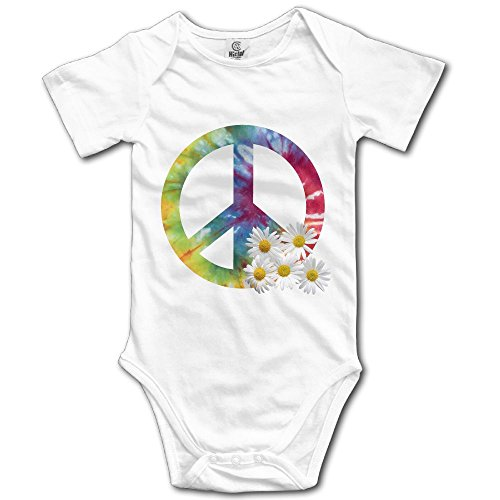 Cutee Daisy Peace Sign Tie Dye Babysuit Infant Jumpsuit Baby Girls Boys Romper Bodysuits