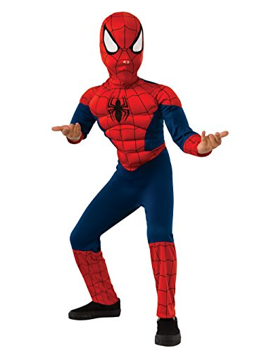 Ultimate Spider-man Costumes (Rubie's Marvel Ultimate Spider-Man Deluxe Muscle Chest Costume, Child Small - Small One Color)