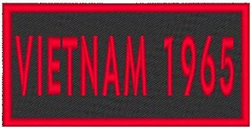 Vietnam 1965 Patch with Hook & Loop Patriotic Morale MC Biker Emblem Red Border #55