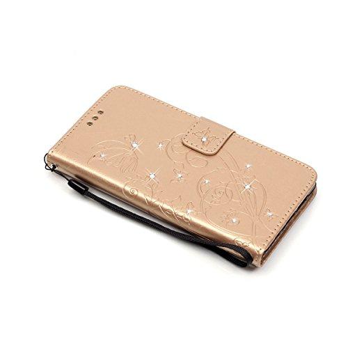 Für Samsung Galaxy J1 Ace Hülle Silikon,Galaxy J1 Ace Hülle Leder,Galaxy J1 Ace Hülle Flip Case,EMAXELERS Flip Hülle Ledertasche Schutzhülle Case Tasche für Samsung Galaxy J1 Ace,Galaxy J1 Ace Hülle G Diamond Butterfly 5