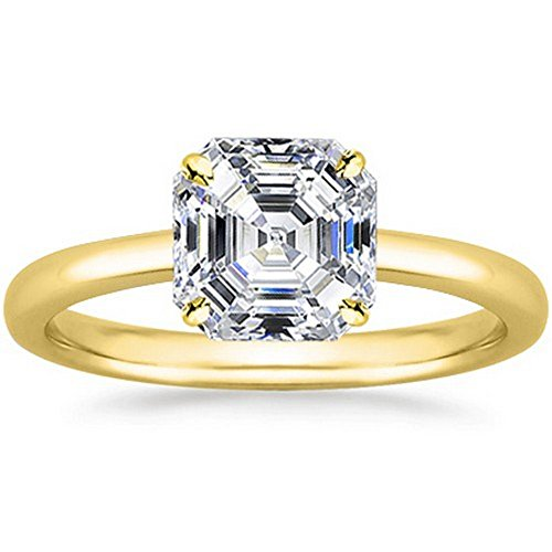 18K Yellow Gold Asscher Cut Solitaire Diamond Engagement Ring (0.61 Carat I Color SI1 (18k Gold Asscher Cut Diamond)
