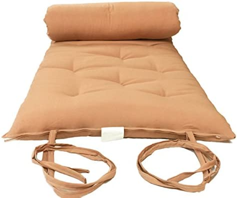 Full Size Peach Traditional Japanese Floor Futon Mattresses, Foldable Cushion Mats, Yoga, Meditaion 54 Wide X 80 Long