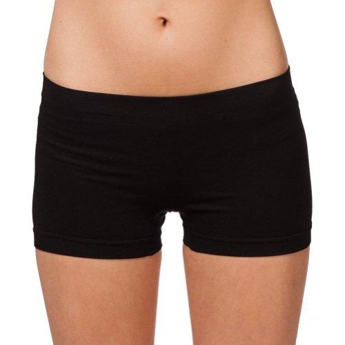 (Short Length Seamless Boy Shorts Slipshort Dance Short One Size (One size Fits All, Black))