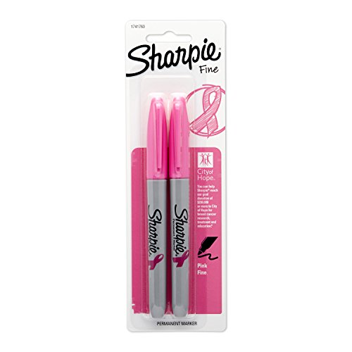 Sharpie Permanent Markers  Fine Point  Pink   City Of Hope  Edition  2 Count