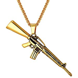 M16/AK47 Rifle Shape Pendant & Necklace Rock Army Style Cool Men Jewelry