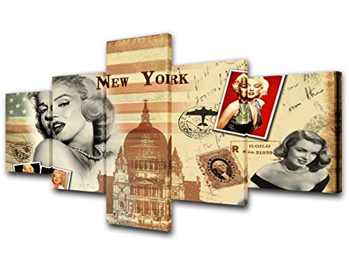 TUMOVO Marilyn Monroe Pictures American Actress Artwork Sacred Heart Church Painting 5 Piece Prints Canvas Wall Art Gallery-Wrapped Living Room House Decoration Framed Ready to Hang(50''W x 24''H)