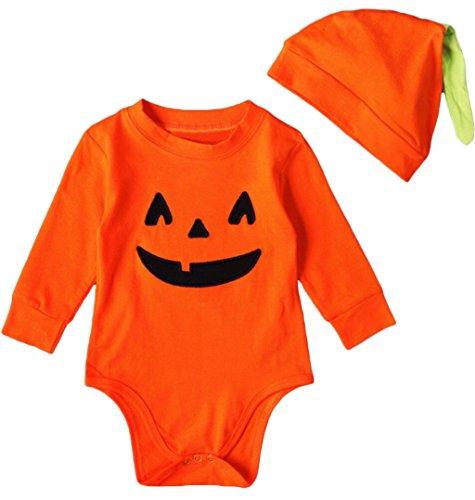 [Newborn Baby Boys Girls Halloween Pumpkin Long Sleeve Jumpsuit Onesies size 3-6 Months (Orange)] (Pumpkin Onesie Infant Costumes)