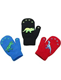 3 Pack - Magic Stretch Winter Mittens for Boys, Kids, Children, Toddler Toddlers - Dino, Solid Colors, Trucks