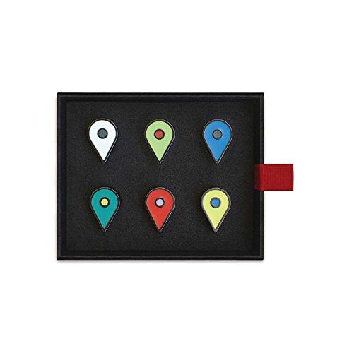 Easy, Tiger Location Map Tack Set, Set of 6 Multi-Color Enamel ()