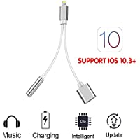 Beser 2 in 1 Lightning Adapter-3.5mm Jack Audio Headphone Charger Adapter,Lightning Charging Splitter and Charge,Fast Charging Lightning Cable Connector for iphone 7/7Plus support ios 10.3(Sliver)