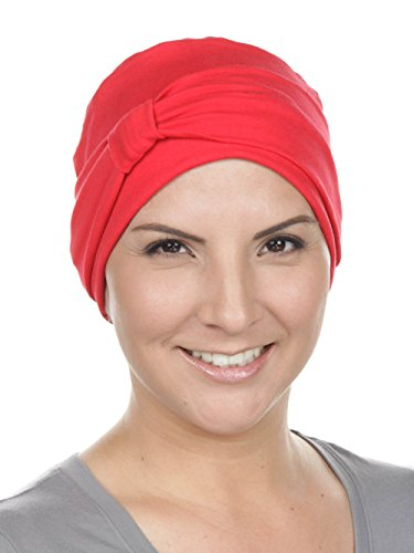 Plus Headcover - Comfort Cotton Sleep Cap & Headband Chemo Hat Beanie Turban for Cancer Red