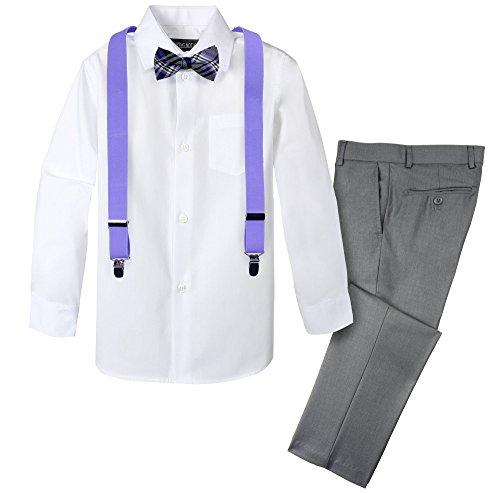 Spring Notion Boys' 4-Piece Patterned Dress up Pants Set 8 Grey/Lavender