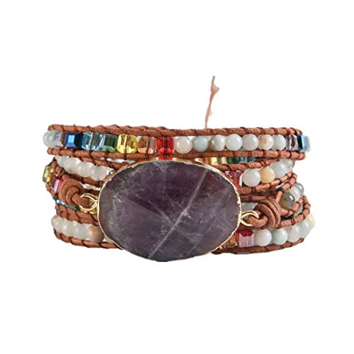 YGLINE Amethyst Ocean Stone Weave Bracelets Bohemian Bracelet for Women Handmade Girls Multi-Layer Yoga Bracelets Leather 5 Wrap Bracelets Friendship Bracelets Jewelry Healing Bracelets(Amethyst 2)