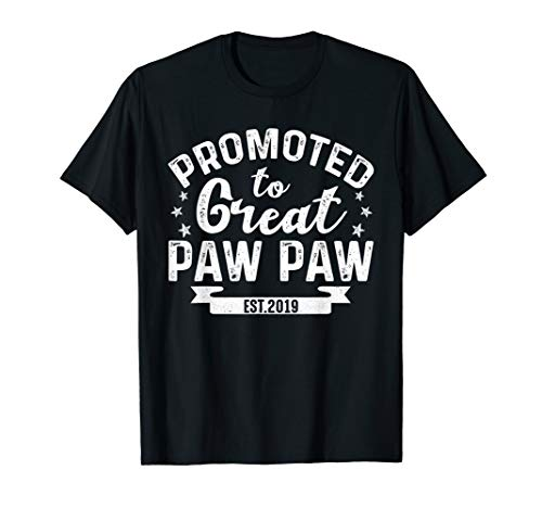 Promoted To Great Paw Paw 2019 T-Shirt Gift For Father's Day