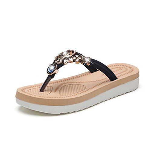 JITIAN Chaussures Ouvert Femme Mode Sandale de Plage Strass Brillant Clip Toe Tongs Talons Plates Noir gpRHrEb