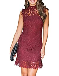 44d057c0f14 Women s Sleeveless Lace Floral Elegant Cocktail Dress Crew Neck Knee Length  for Party