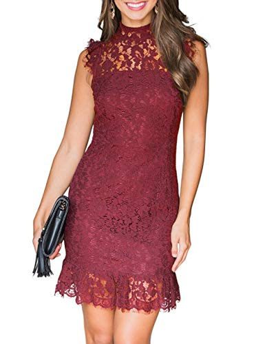 MEROKEETY Women's High Neck Sleeveless Floral Lace Ruffle Cocktail Party Mini Dress (Best Wedding Dresses For Short Women)