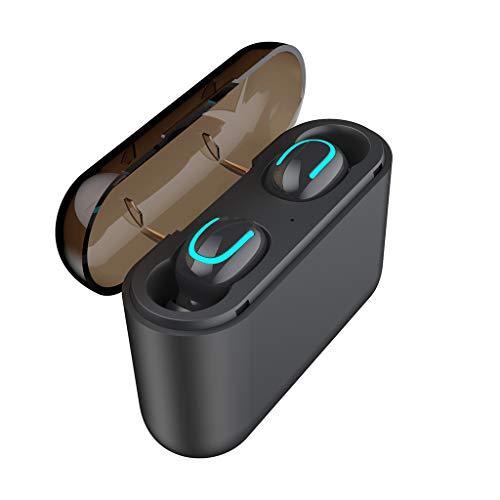(VEFSU TWS Wireless Bluetooth Headset 5.0 Headphones Sport Mini Earbuds Earphone,Long-Lasting Bass Headset (Black))