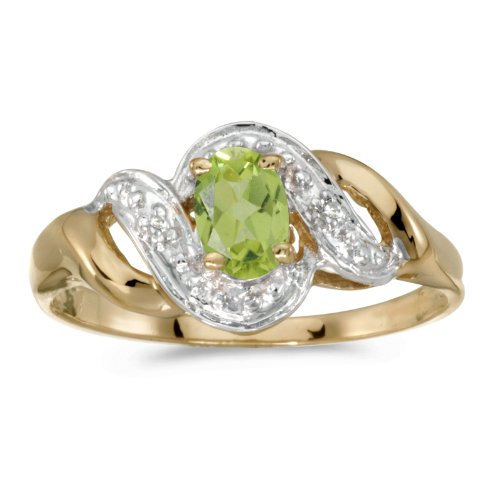FB Jewels 14k Yellow Gold Genuine Green Birthstone Solitaire Oval Peridot And Diamond Swirl Wedding Engagement Statement Ring - Size 7 (2/5 Cttw.) ()