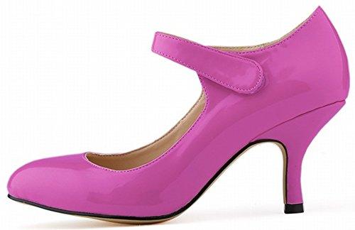 Aisun Damen Elegant Rund Zehe Low-Cut Kitten-Heel Klettverschluss Pumps Violett