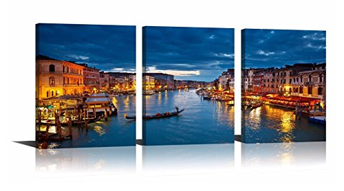 (YPY Oil Paintings Venice Nightscape Modern Cityscape Boats on The River Wall Art Decoration Print on Canvas for Living Room Office Kitchen Ready to Hang 12x16x3pcs)