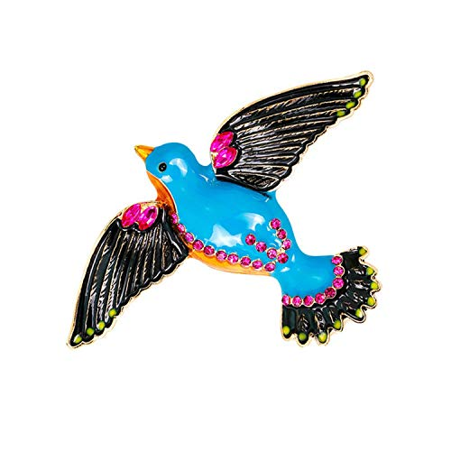 ihuoshang Enamel Crystal Bee Owl Dragonfly Bird Dog Brooches for Women Plant Animal Insect Brooch Pin Jewelry Banquet Weddings Accessories,Swallow Blue