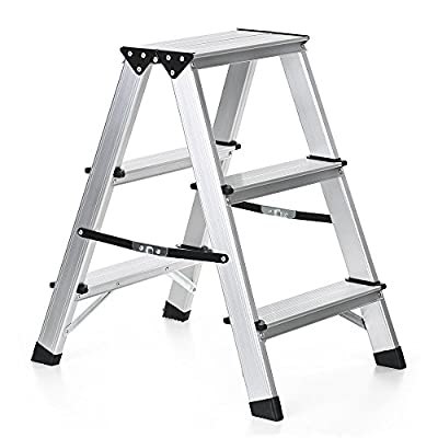 IKAYAA iKayaaH18238 Aluminum Folding 2 Step Ladder Capacity, Non-Slip Portable Stepladder, 330 lb.