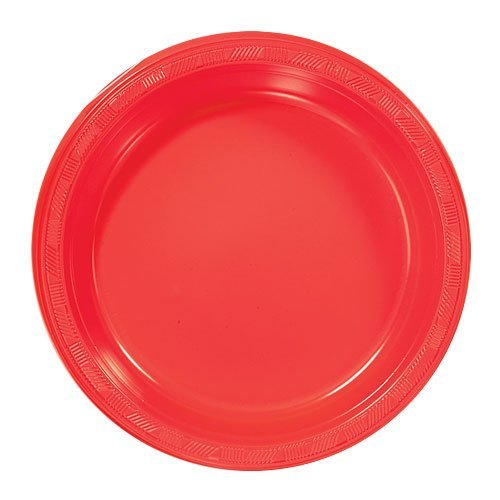 Red Plastic Plates (Hanna K. Signature Collection Plastic Plate, 50 Plates, 9-Inch, Red)