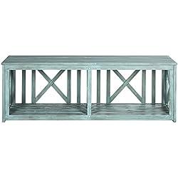 Safavieh Outdoor Collection Branco Beach House Blue Bench
