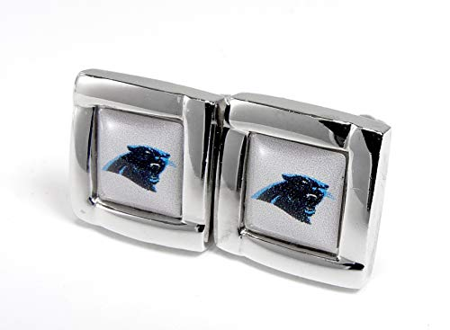 aminco NFL Carolina Panthers Womens NFL Sports Team Logo Square Cufflinks with Gift Box Set, Silver, One Size