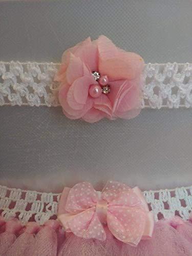 Pink and white infant headband and tutu set