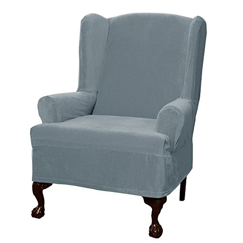 Maytex Collin Stretch 1 Piece Wing Chair Furniture Cover / Slipcover, Blue