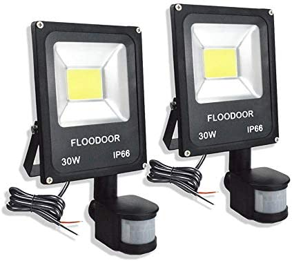 FLOODOOR 30W LED Motion Sensor Light, 12-24V Outdoor Security Super Bright Flood Light, IP66 Waterproof, 6000K, 2700LM, Daylight White, 150W Halogen Bulb Equivalent, PIR Sensor Light 2 Pack