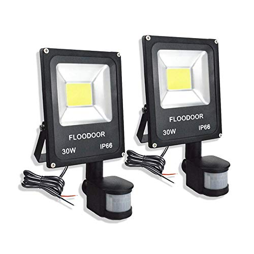 FLOODOOR 30W LED Motion Sensor Light, 12-24V Outdoor Security Super Bright Flood Light, IP66 Waterproof, 6000K, 2700LM, Daylight White, 150W Halogen Bulb Equivalent, PIR Sensor Light (2 Pack)