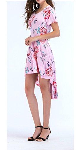 Casual Sleeve Fit 6 Short Women's Floral Print Pleated Irregular Jaycargogo Dress wqBZ7tY