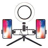 LIJUEZL 10in Desktop LED Ring Light with Tripod Stand & 2 Phone Holder, Dimming Bi-Color 2700-5600K Mini LED Selfie Fill Light,16cm
