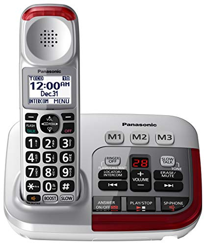 Panasonic KX-TGM450S Amplified Cordless Phone with Digital Answering Machine, 1 Handset , Silver (Renewed)