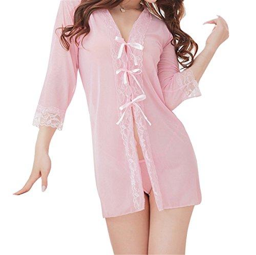 YALL-Albornoces de la ropa interior de encaje negro pijamas Pink