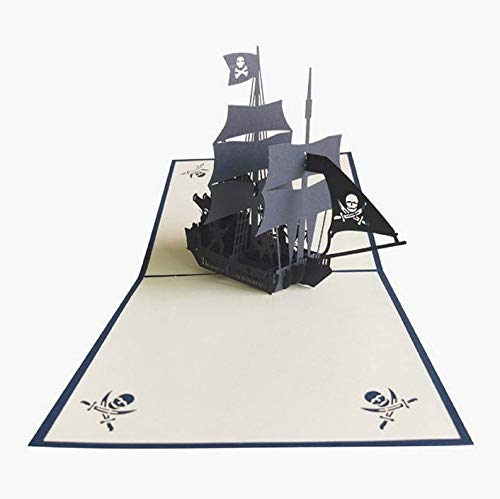 Handmade 3D pop up birthday card Caribbe pirate boat ship war fight father's day Halloween ()