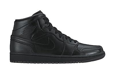 Nike Men's Air Jordan 1 Mid Black/Black/Dark Grey Basketball Shoe - 10 D(M) US