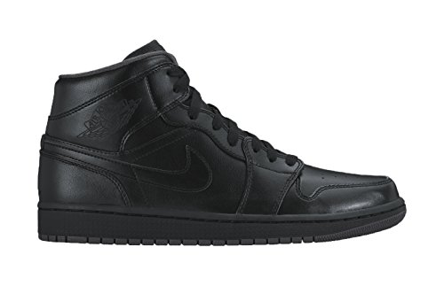 Nike Men's Air Jordan 1 Mid Black/Black/Dark Grey - Nike Basketball Sneakers Black