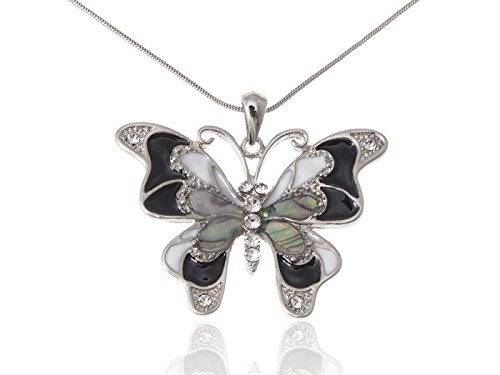 Alilang Silvery Tone Abalone Colored Stones Black White Butterfly Pendant Necklace